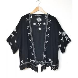 Ethnic Embroidery Cardigan (Free Size S-Plus Size)