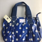 กระเป๋า Chalita wu + สะพาย ทรงกระโปรง สีน้ำเงิน ลายจุดสีเทา