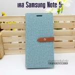เคส Samsung Galaxy Note 5 ลายยีนส์ ฝาปิด ตั้งแนวนอนได้ สีเขียว