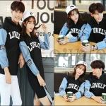 PRE-ORDER ชุดคู่รักเกาหลีใหม่ เซตแฟชั่นฤดูหนาว ผ้ายืดหลวม(มีฮู้ด) ออกแบบเรียบง่าย ญ.เดรสแขนยาว/ช.เสื้อคลุมแขนยาว
