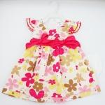 (พร้อมส่ง) Carters เดรสสีครีมลายดอกไม้ติดโบว์สีชมพู พร้อมกางเกงในสีขาว