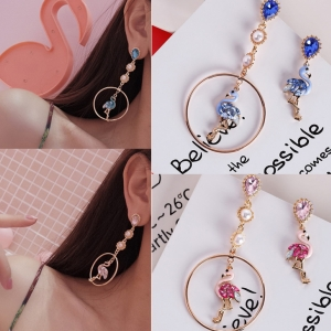 เลือกสีดานในค่ะ ต่างหู (ก้านเงินแท้ 925) Jewel Flamingo Korea ER6341
